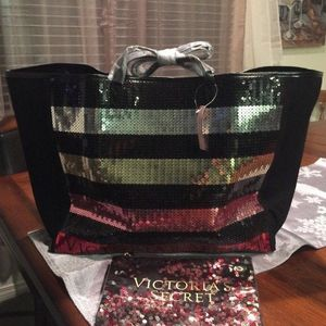 >>>🛍Victoria Secret Bling Stripe Sequin Tote with Mini Bag Set Black Red🛍 for Sale in City of Industry, CA
