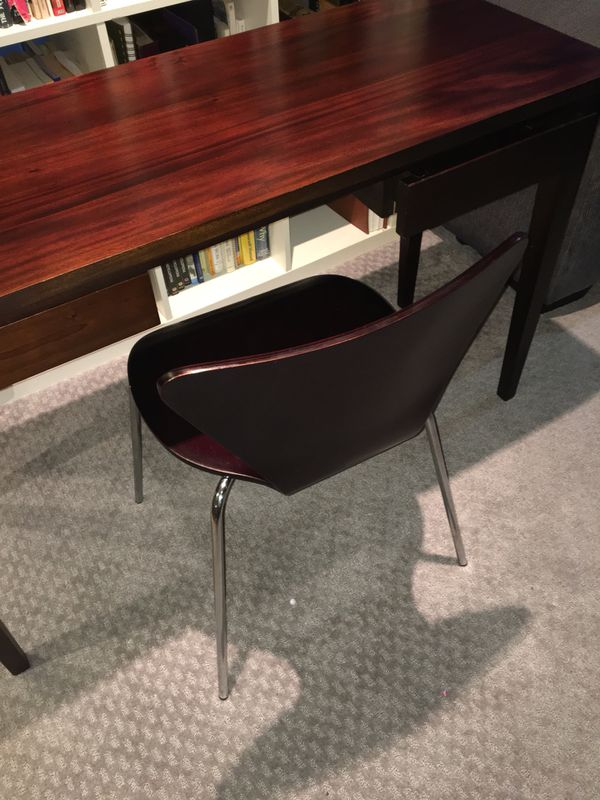 Small dark wood desk and chair