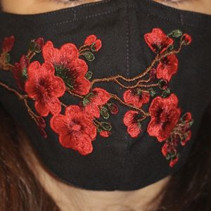 Face Mask with Embroidered flowers (Triple layers,adjustable nose wire and adjustable ear loops) for Sale in Seattle, WA