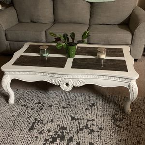Pretty Marble And White Coffee Table for Sale in Morrisville, NC