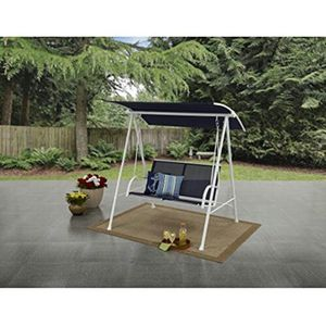 Mainstays Two Person Cushioned Canopy Porch Swing Blue/White for Sale in Spring, TX