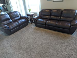 Leather Power Reclining Sofa & Loveseat for Sale in Greenacres, WA