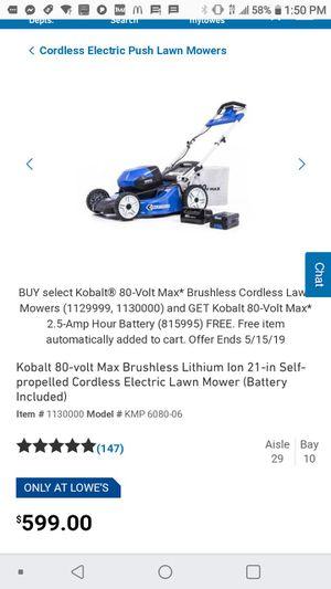80 volt cordless Kobalt lawn mower for Sale in Lexington, KY