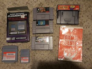SNES games game genie and cleaning kit for Sale in San Antonio, TX