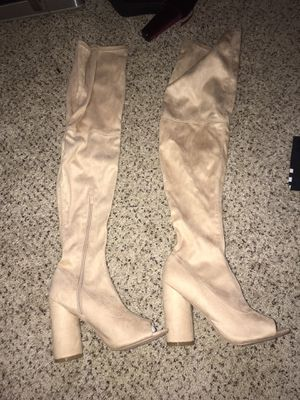 Size 10 nude thigh high boots for Sale in Atlanta, GA