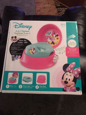 The First Years Disney Baby Minnie Mouse 3-in-1 Potty System - NEW IN THE BOX MY PRICE $20.00 Highlights 3-in-1: system on floor, seat can be used o for Sale in Largo, FL