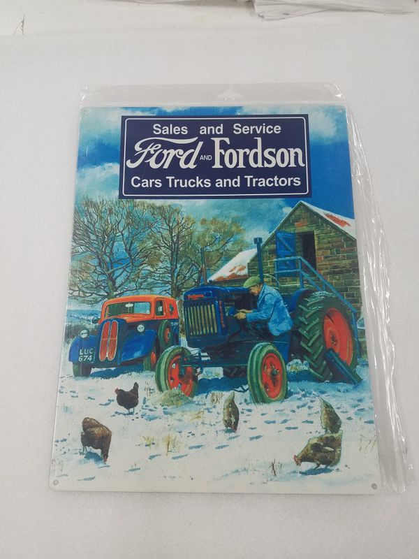 Ford farm tractor sales service steel metal sign