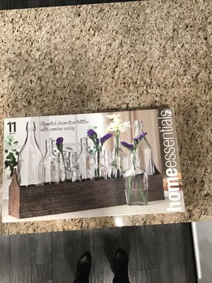 Home Essentials and Beyond 11-Piece Clear Glass Bottles and Wood Tray Set from bed bath and beyond for Sale in Smyrna, TN