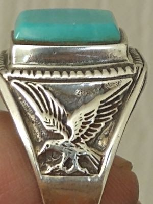 Vintage Sleeping Beauty turquoise sterling silver ring (signed/sz12). for Sale in Altamonte Springs, FL