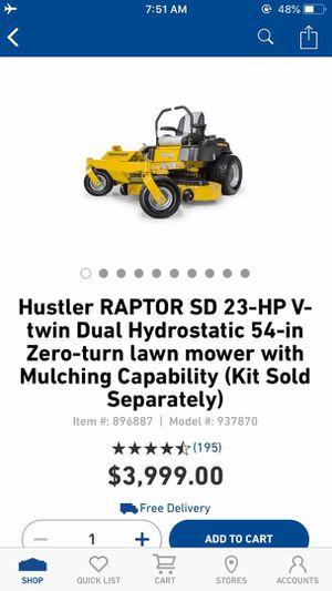 New Hustler Raptor SD 23-HP V-Twin Dual Hydrostatic 54-inch Zero Turn lawn mower for Sale in Dallas, TX
