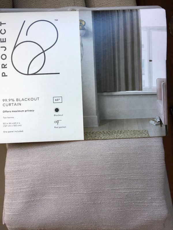 """3 Curtains Blackout 63"""" New"""