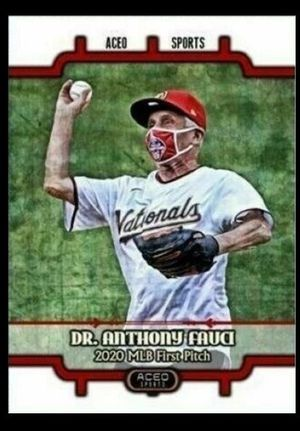 2020 Dr Anthony Fauchi opening day first pitch Art card editions baseball card for Sale in Mundelein, IL