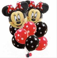 Minnie Mouse bouquet red and black polka dots balloons for Sale in South Gate, CA