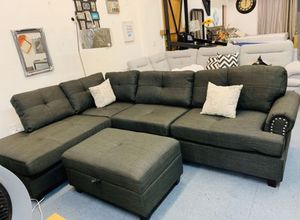 Brand New Ash Black Linen Sectional Sofa Couch +Storage Ottoman for Sale in Silver Spring, MD