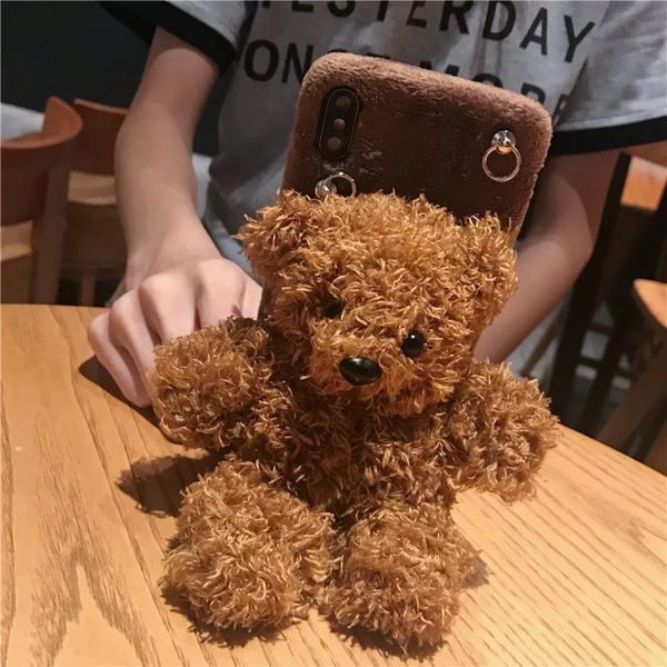 Winter 3D plush doll teddy bear strap lanyard phone case for iphone 11 Pro Max X XR XS 6S 7