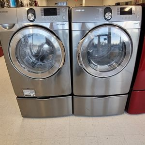 Samsung Front Load Washer And Electric Dryer Set With Pedestal Used In Good Condition With 90day's Warranty for Sale in Washington, DC