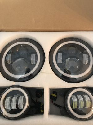 """COWONE 130w Philip 7"""" LED Headlights + 4"""" Cree LED Fog Lights for Jeep Wrangler for Sale in Shelbyville, TN"""