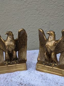 Vintage Bronze Eagle Bookends 1776 Independence Day Americana KG RR29 for Sale in Ontario,  CA