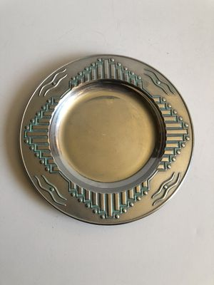 Southwest / Aztec Design Wilton Armetale Vintage Silver Metal Candle Holder Plate for Sale in Peoria, AZ