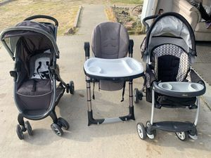 2 strollers and a high chair baby kids Grecco Chico for Sale in San Diego, CA