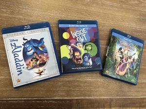 Aladdin, Inside Out and Tangled blue ray dvds for Sale in Miami, FL