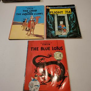 The Adventures Of Tin Tin Crab With Golden Claws, Flight 714, The Blue Lotus, Herge Graphic Novel Lot Of 3 for Sale in Fresno, CA