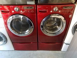 LG red washer gas dryer w pedestal for Sale in Tustin, CA
