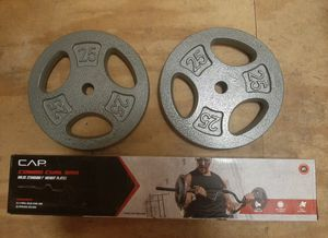 (2) x 25LB CAST IRON WEIGHT PLATES WITH CAP COMBO CURL BAR for Sale in Gainesville, FL