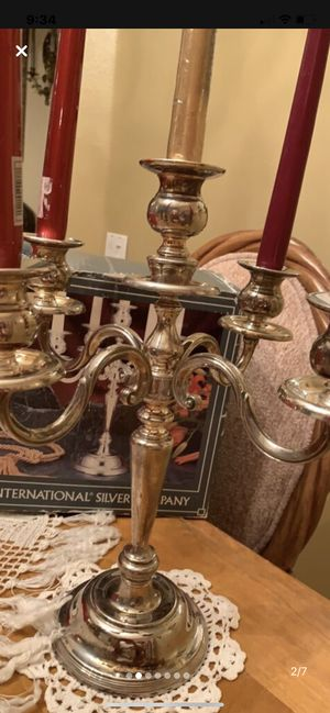 A vintage sterling silver 5-light candelabra embellished with a traditional Gadroon pattern on the round spread foot and on the capitals and sconces. for Sale in Kissimmee, FL