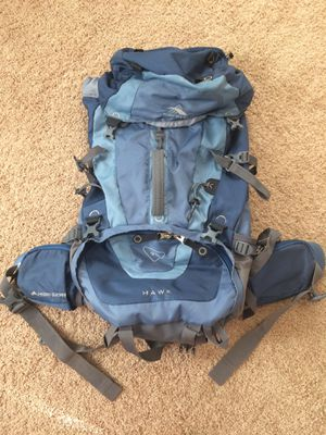 High Sierra 59205 Hawk 45 Blue / Gray Internal Frame Backpacking Hiking Camping Backpack for Sale in Severn, MD