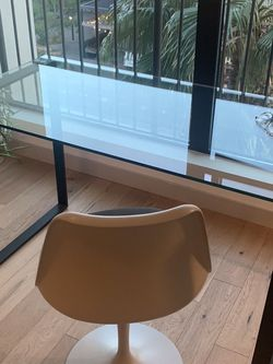 mod-chair and glass top desk combo / black legs/ desk: 47w, 24d, 30h for Sale in Los Angeles,  CA