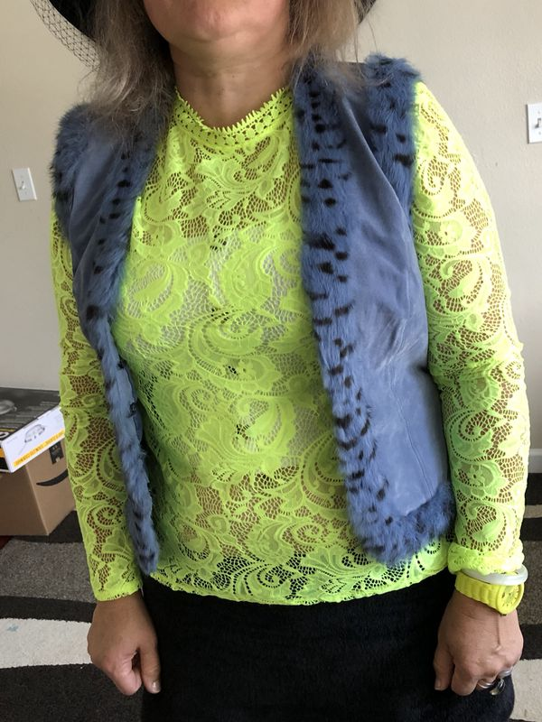 Real leather and rabbit fur women's vest size 6