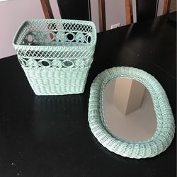 Wicker Mirror and Garbage Can for Sale in Naperville,  IL