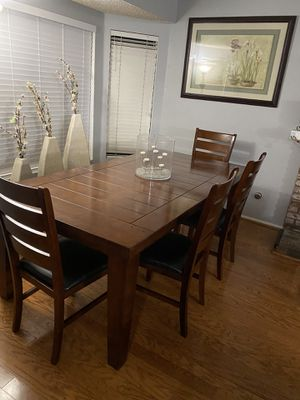 Dining Table With 4 Leather Chairs and 1 Bench (Like New) OBO for Sale in Rancho Cucamonga, CA