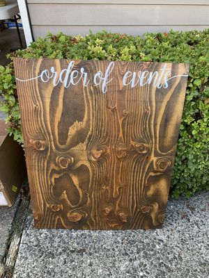 Order of events wood sign for Sale in Kirkland, WA