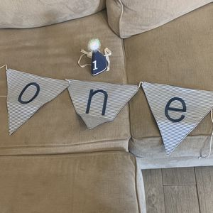 First Birthday Banner And Hat for Sale in Fontana, CA