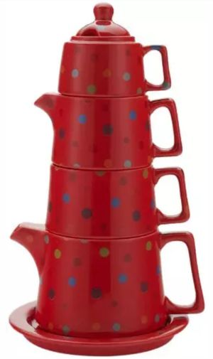 YEDI Coffee & Tea Tower Tea Set - Model CC361 - Red Polka Dot - BRAND NEW IN BOX for Sale in Great Mills, MD