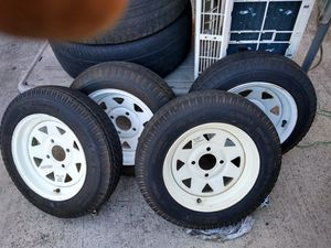 "New 12"" trailer set of four tires and rims $160 for the set or $80 for a pair for Sale in Garden Grove, CA"