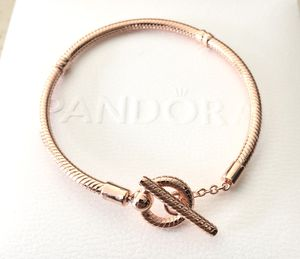 Pandora 14k Rose Gold Plated, Moments T-Bar, Snake Chain, Bracelet #589087C00 - Sterling Silver S925 ALE ~ Choose Size + Tag for Sale in Fontana, CA
