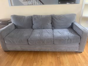 FREE Must pick up FRI / SAT in Charlestown —- Jordan's grey microfiber couch for Sale in Everett, MA
