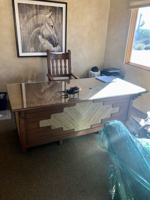 Wood desk, chair, and credenza for Sale in Scottsdale, AZ