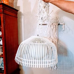 Vintage Rustic Farmhouse Bamboo Wicker Rattan Shade Hanging Light Fixture for Sale in Princeton, TX