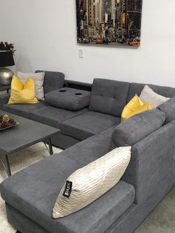 (New In Boxes) Gray Microsuede Sectional Sofa for Sale in Atlanta,  GA