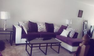 Purple and white leather couches with all 3 tables for Sale in Killeen, TX