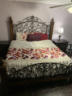 King bed frame with matching nightstands. Solid wood and wrought iron. for Sale in North Port, FL