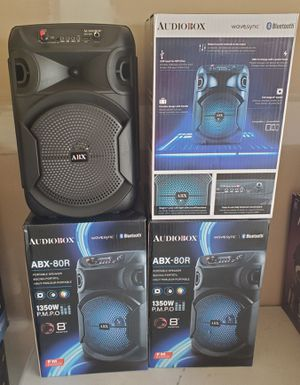 """New 8"""" subwoofer portable speaker size 14x10"""" wide Bluetooth, rechargeable, usb, mp3, fm radio, aux for Sale in Riverside, CA"""