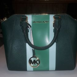 Michael Kors Ciara leather purse green stripe Saffiano leather messenger bag for Sale in Bedford,  OH