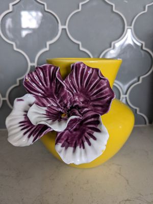 Anthropologie Purple Pansy Flower Vase for Sale in Hopkinton, MA
