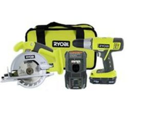 """ryobi p825 18v one+ cordless lithium ion power tool starter kit (includes 1/2"""" drill / driver, 5 1/2"""" circular saw, compact battery, charger, for Sale in Tampa, FL"""