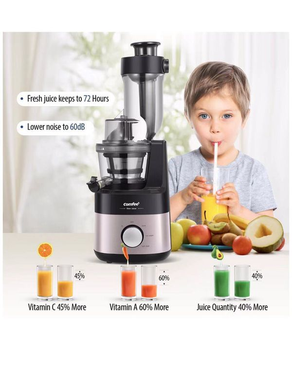 BPA Free Jucier with Ice Cream Maker. 3.4inch Large Chute. 55RPM Slow Cold Press Masticating and Grinding. High Yield. Quiet Motor, Reverse Function.